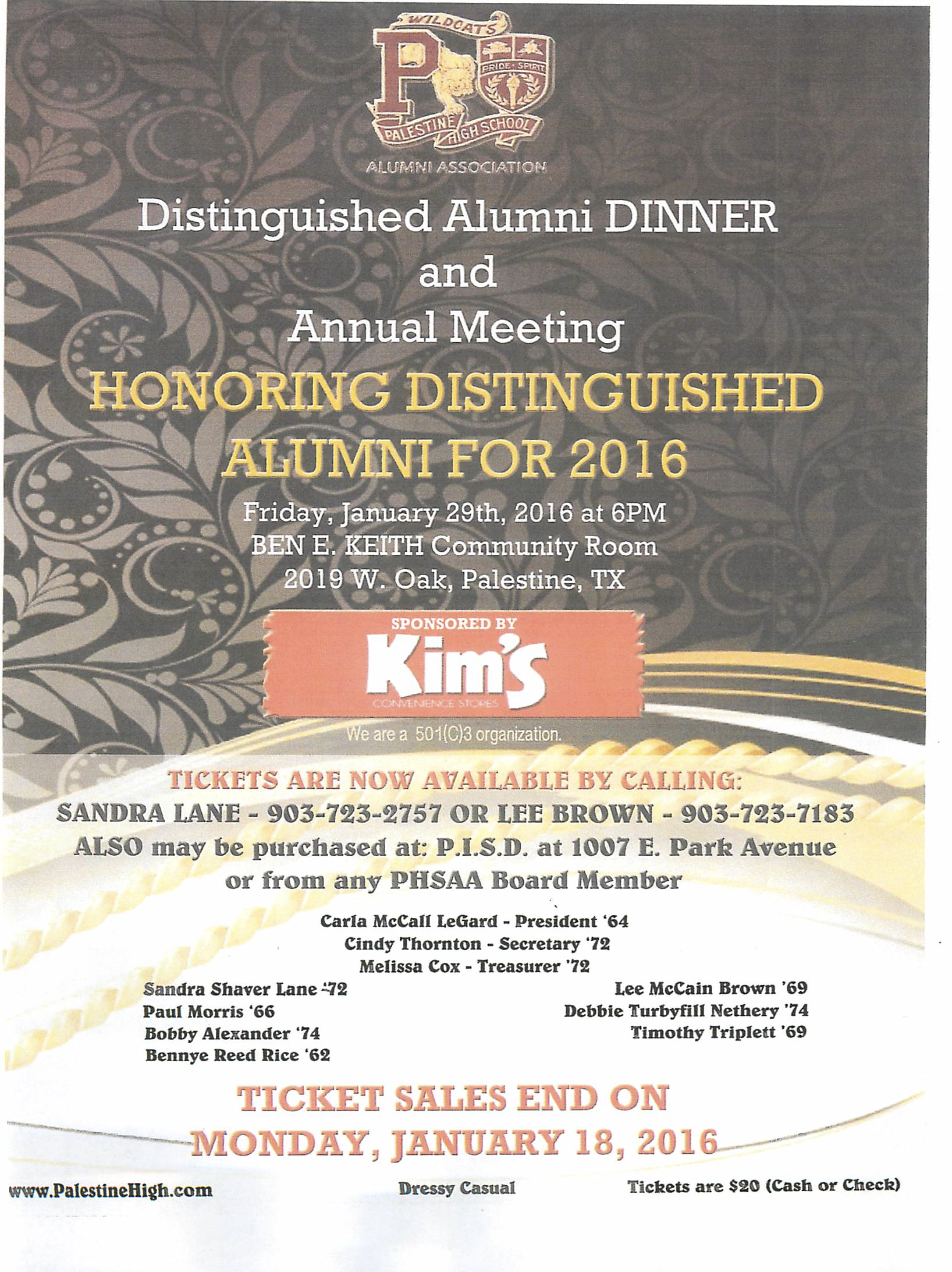 PHSAA Meeting and Dinner January 29 2016 flyer